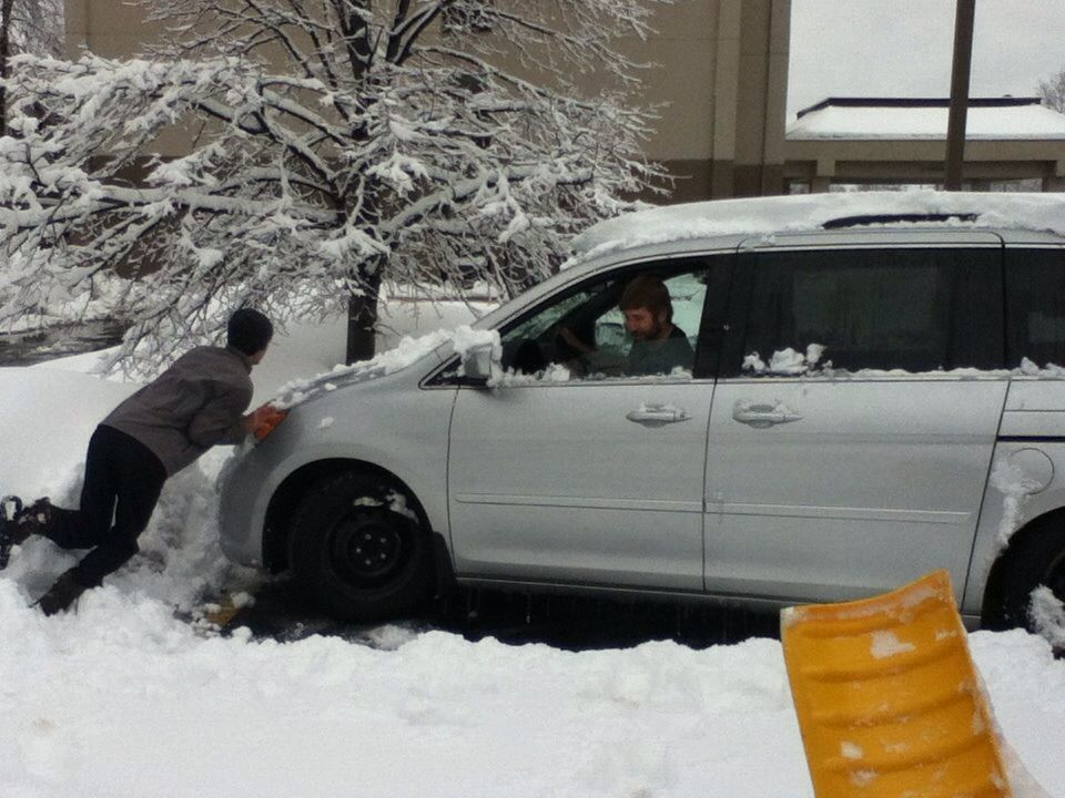 Tom and Nate getting the van 'unstuck'!